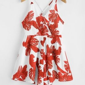 Red Tropical Crisscross Romper NWT